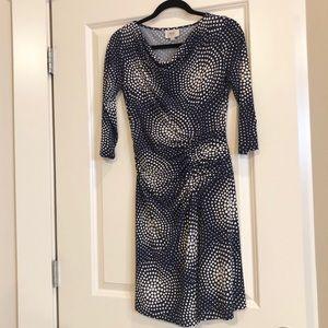 ECI Navy & Cream Polka Dotted Dress Size 4 EUC